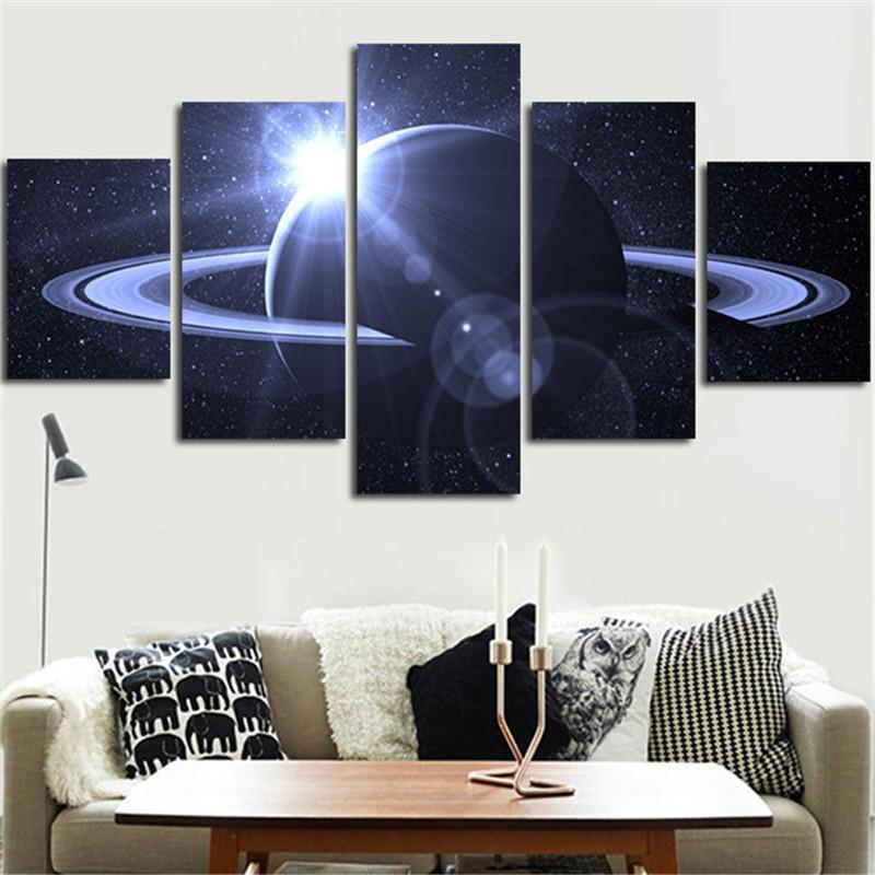5 Piece Universe Space Saturn Canvas Painting Wall Art - It Make Your Day