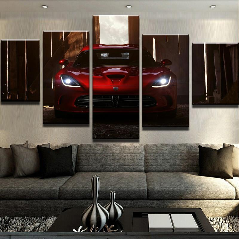 5 Piece Viper Lights Car Canvas Wall Art Paintings - It Make Your Day