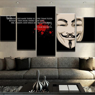 5 Piece V For Vendetta - Bulletproof Canvas Wall Art Paintings - It Make Your Day