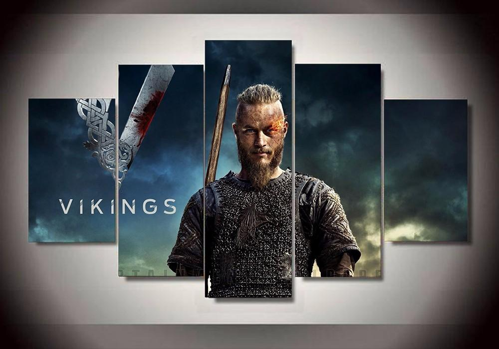 5 Piece Vikings Ragnar Lothbrok Movie Canvas Painting Wall Art - It Make Your Day