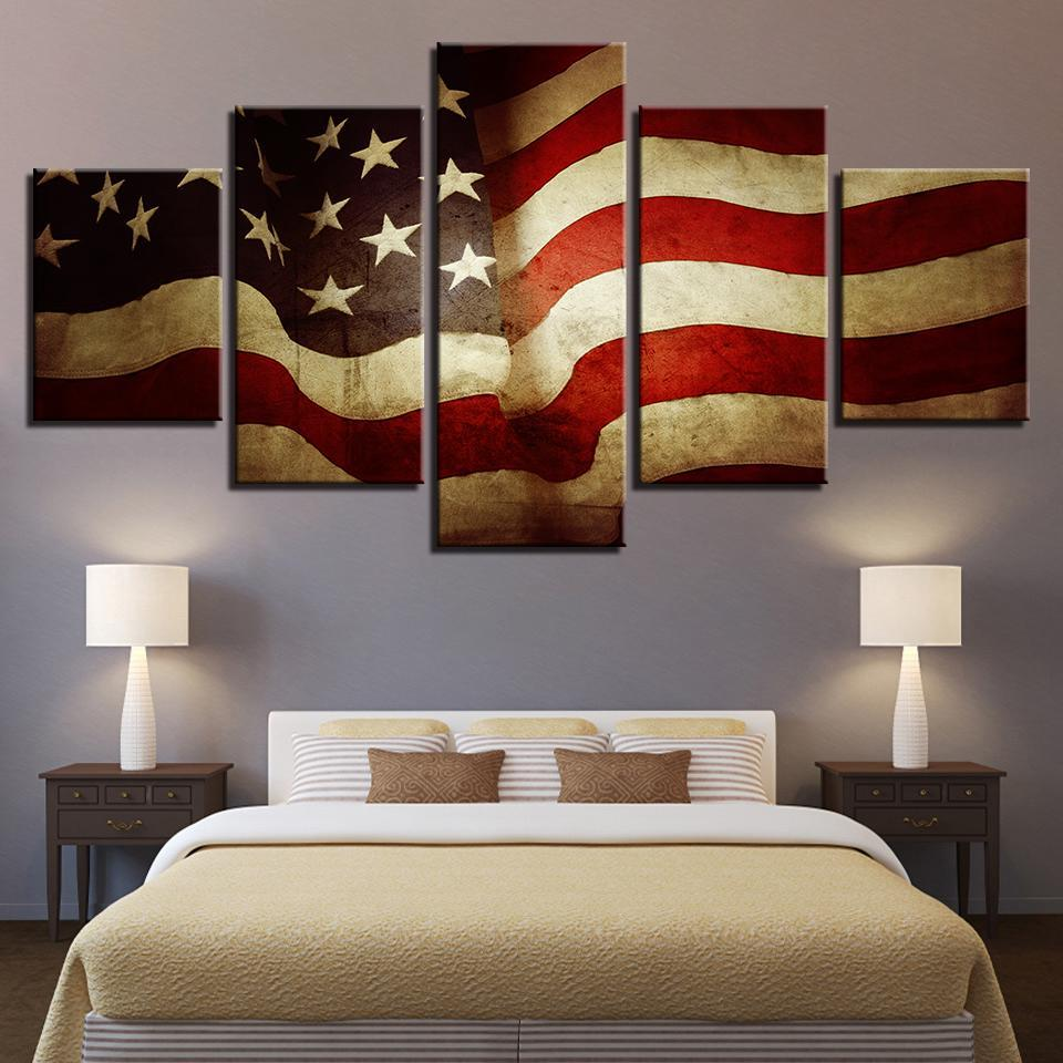 5 Piece Vintage American Flag Canvas Wall Art Paintings - It Make Your Day