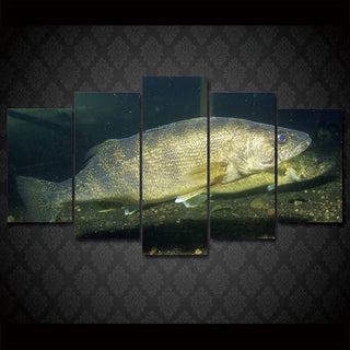 5 Piece Walleye Canvas Wall Art Sets - It Make Your Day