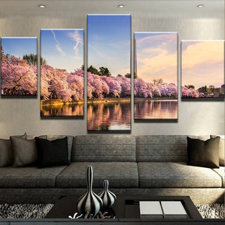 5 Piece Washington Monument Cherry Blossom Flowers Canvas Wall Art Paintings - It Make Your Day