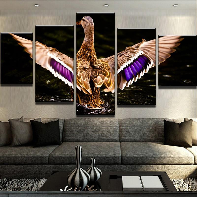 5 Peaces Waterfowl Wings Canvas Wall Art Paintings - It Make Your Day