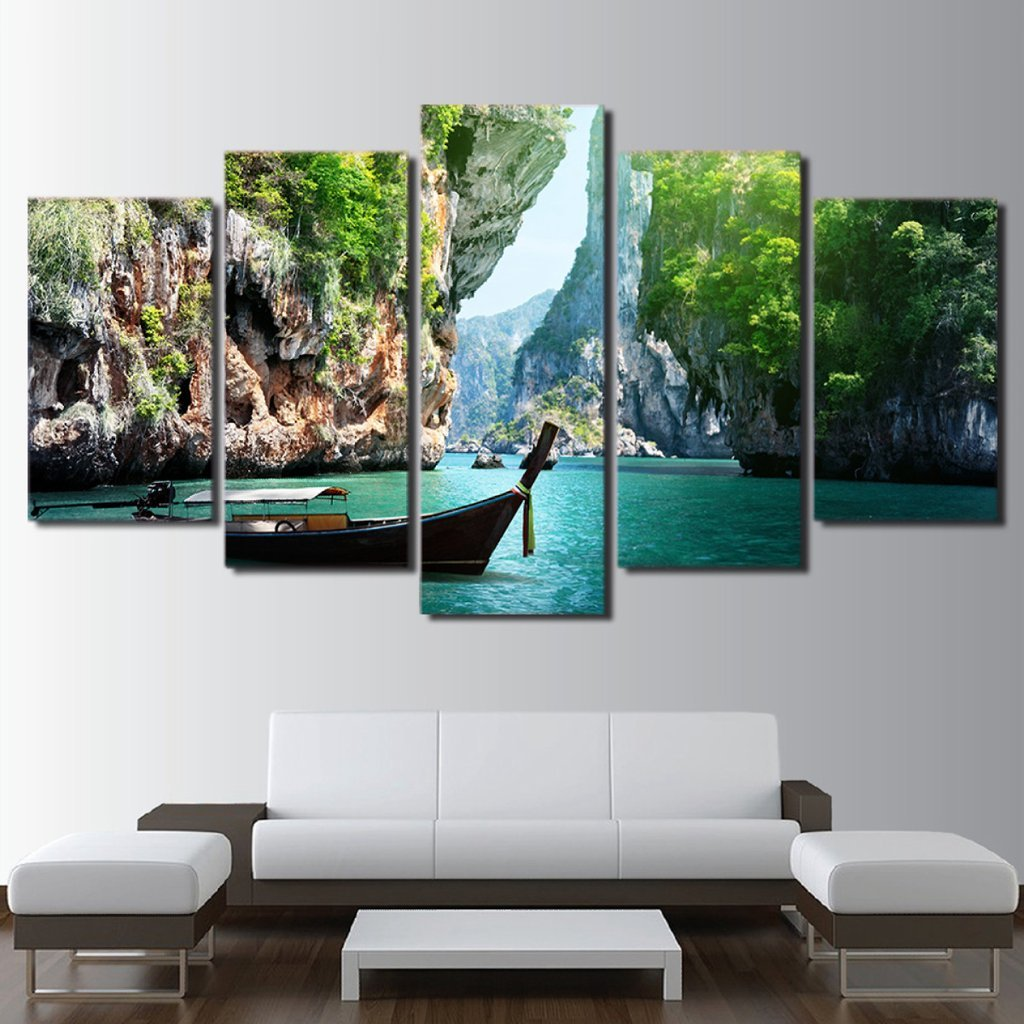 5 Piece Water Canyon Canvas Paintings Wall Art - It Make Your Day