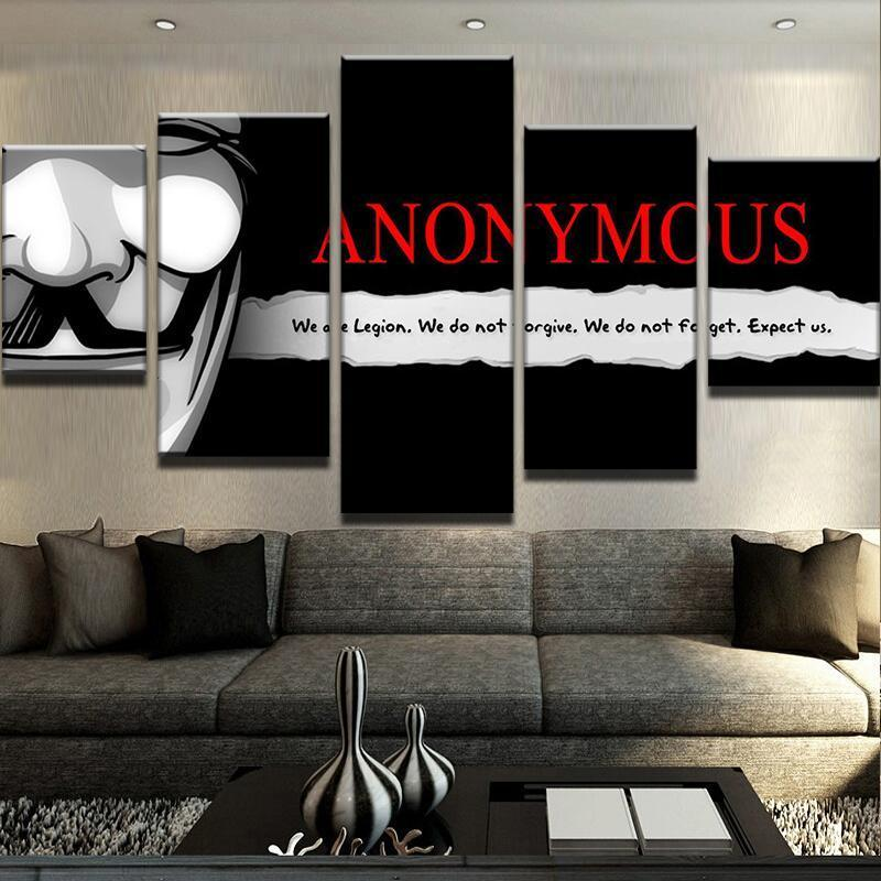 5 Piece We Are Anonymous Canvas Wall Art Paintings - It Make Your Day