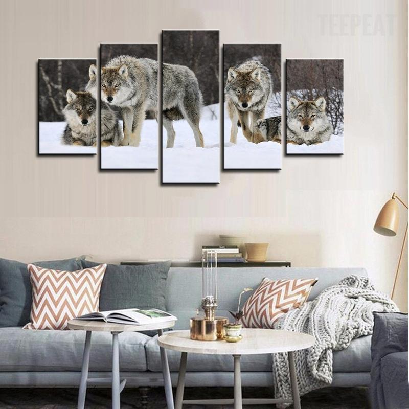 5 Piece Wolf Pack On The Snow Large Canvas Painting Nature - It Make Your Day