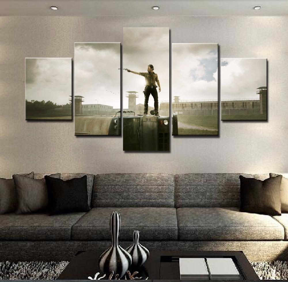 5 Piece Walking Dead Characters Movie Canvas Painting Wall Art - It Make Your Day