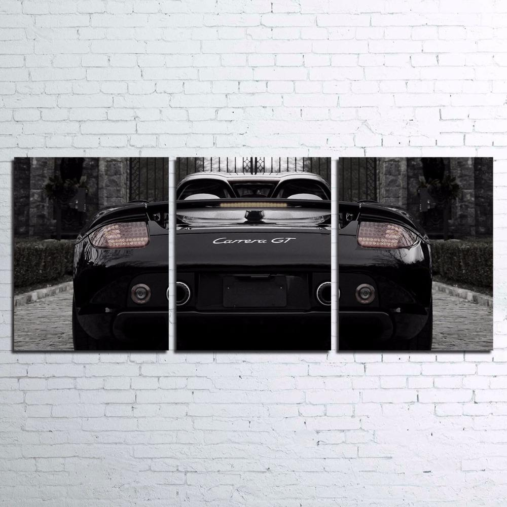 3 Piece Black Luxury Sports Car Canvas Wall Art Sets - It Make Your Day