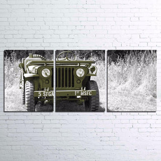 3 Piece Retro Jeep Car Snow Landscape Canvas Wall Art Sets - It Make Your Day