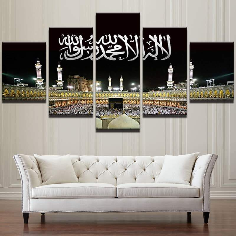 5 Piece Islamic Mosque Castle Masjid al-Haram Mecca Canvas Wall Art Paintings - It Make Your Day