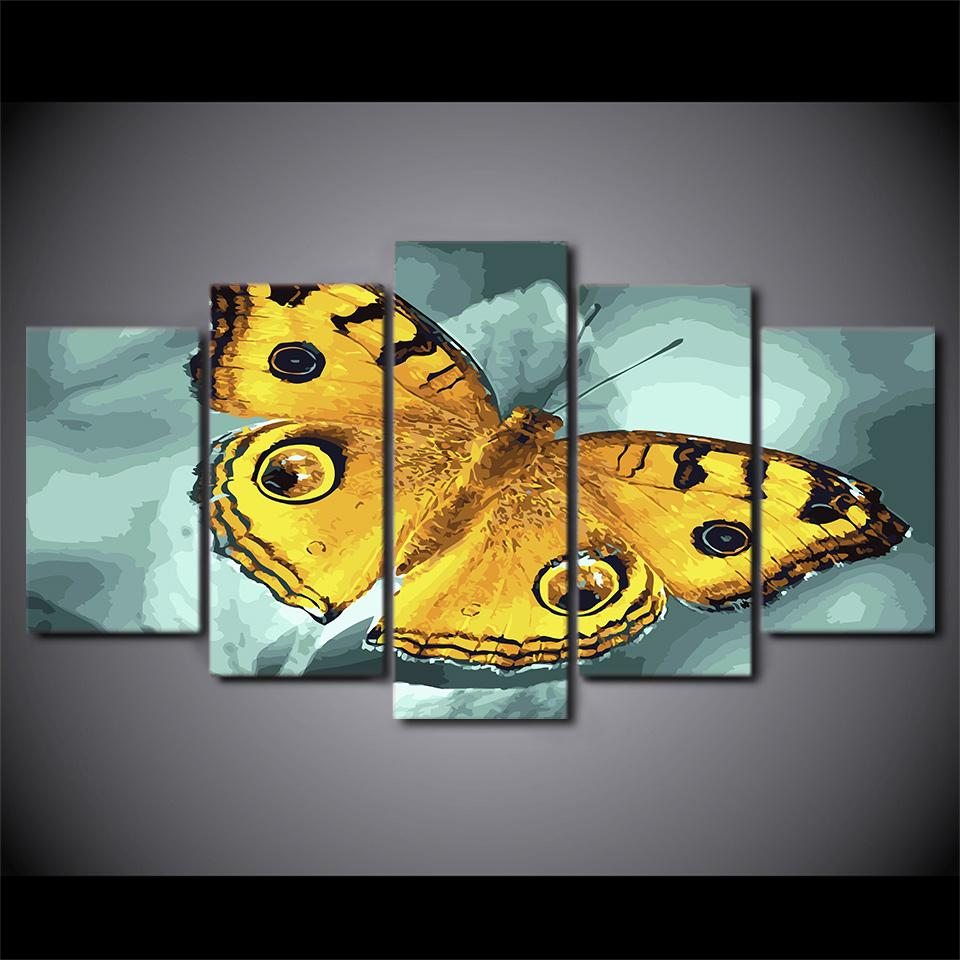 Framed 5 Piece Insect Flying Yellow Butterfly Canvas Wall Art Sets ...