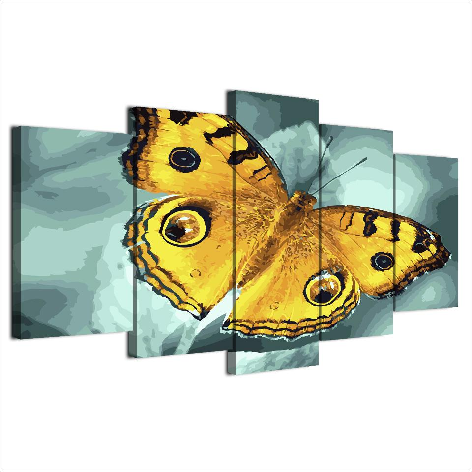 Framed 5 Piece Insect Flying Yellow Butterfly Canvas Wall Art Sets - It Make Your Day
