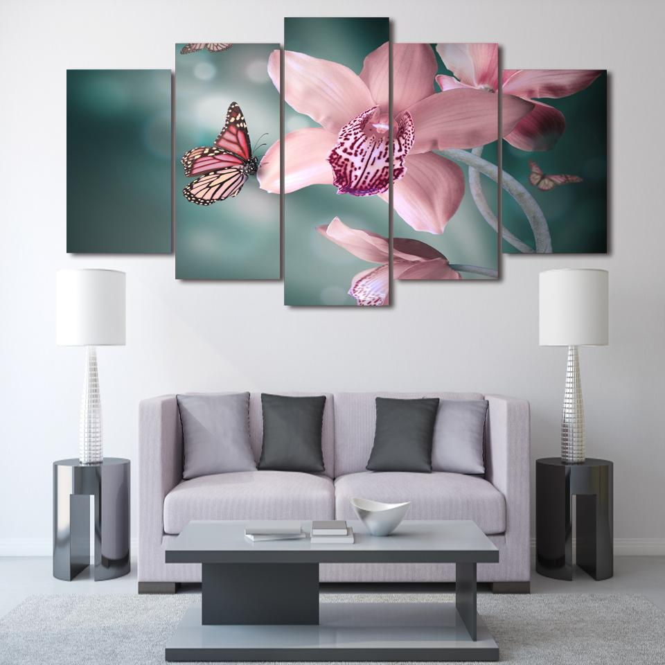 Framed 5 Piece Butterfly Orchid Canvas Wall Art Sets - It Make Your Day