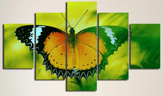 Framed 5 Piece Abstract Colorful Butterfly Landscape Canvas Wall Art Sets - It Make Your Day