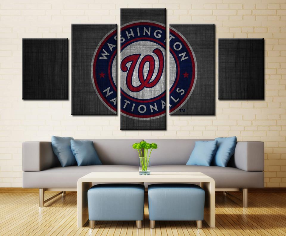 5 Piece Washington Nationals Team Baseball Canvas Painting Frames - It Make Your Day