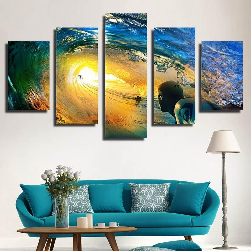 5 Piece Wave Surfing in Sunshine Canvas Painting Sunset - It Make Your Day