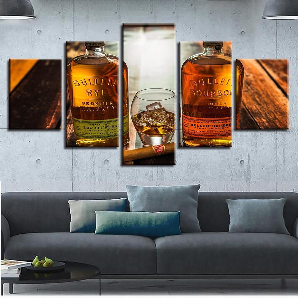 5 Piece Whiskey Print 1 Canvas Wall Art Sets - It Make Your Day