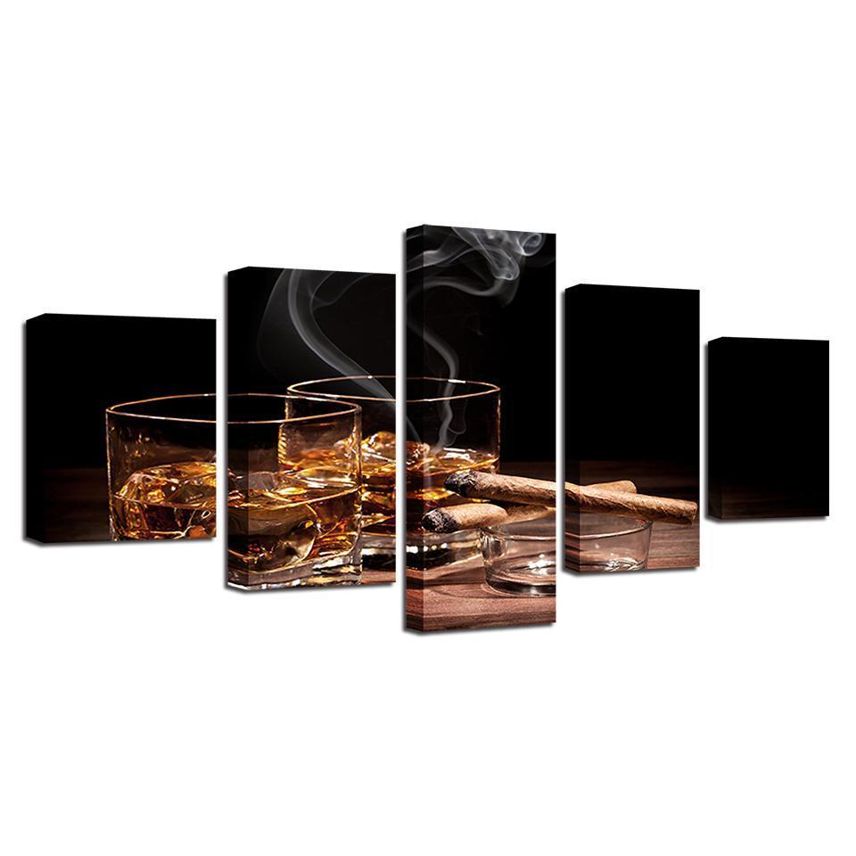 5 Piece Whiskey Print 2 Canvas Wall Art Sets - It Make Your Day
