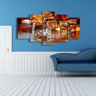 5 Piece Whiskey Print 11 Canvas Wall Art Sets - It Make Your Day