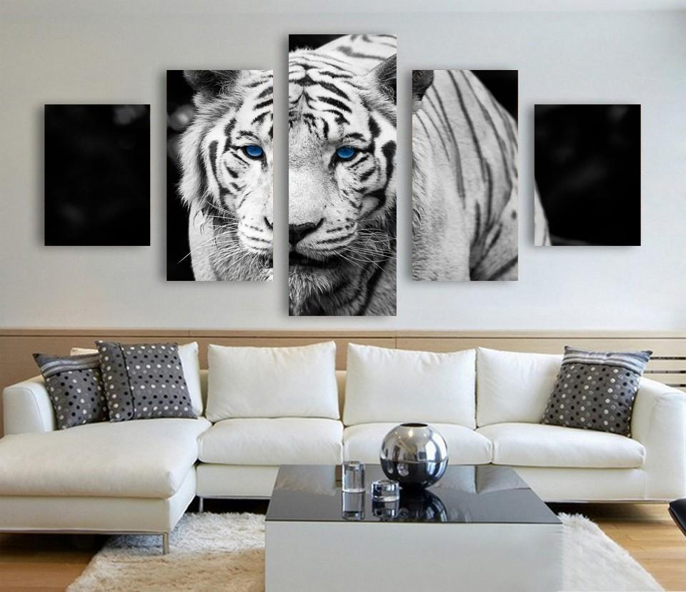 5 Piece White Tiger Animal Large Canvas Painting Nature - It Make Your Day