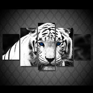 5 Piece White Tiger Large Canvas Painting Nature - It Make Your Day
