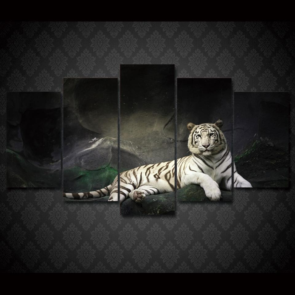 5 Piece White Tiger Landscape Large Canvas Painting Nature - It Make Your Day