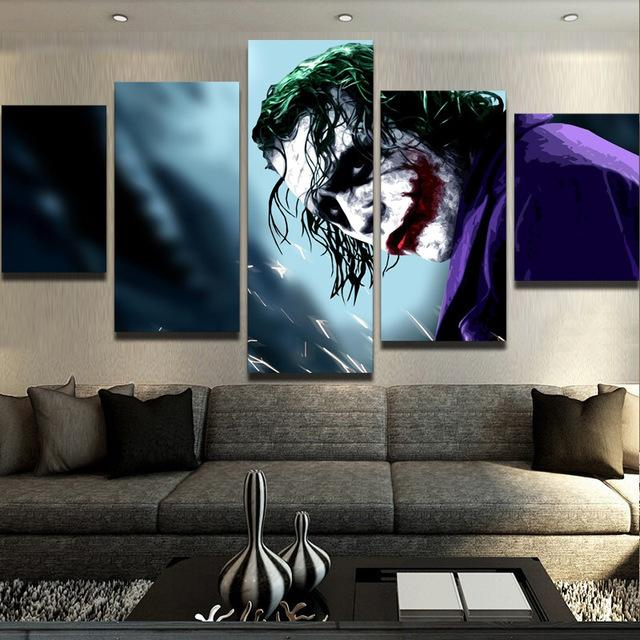 5 Piece The Dark Knight Joker Movie Canvas Wall Art Paintings - It Make Your Day