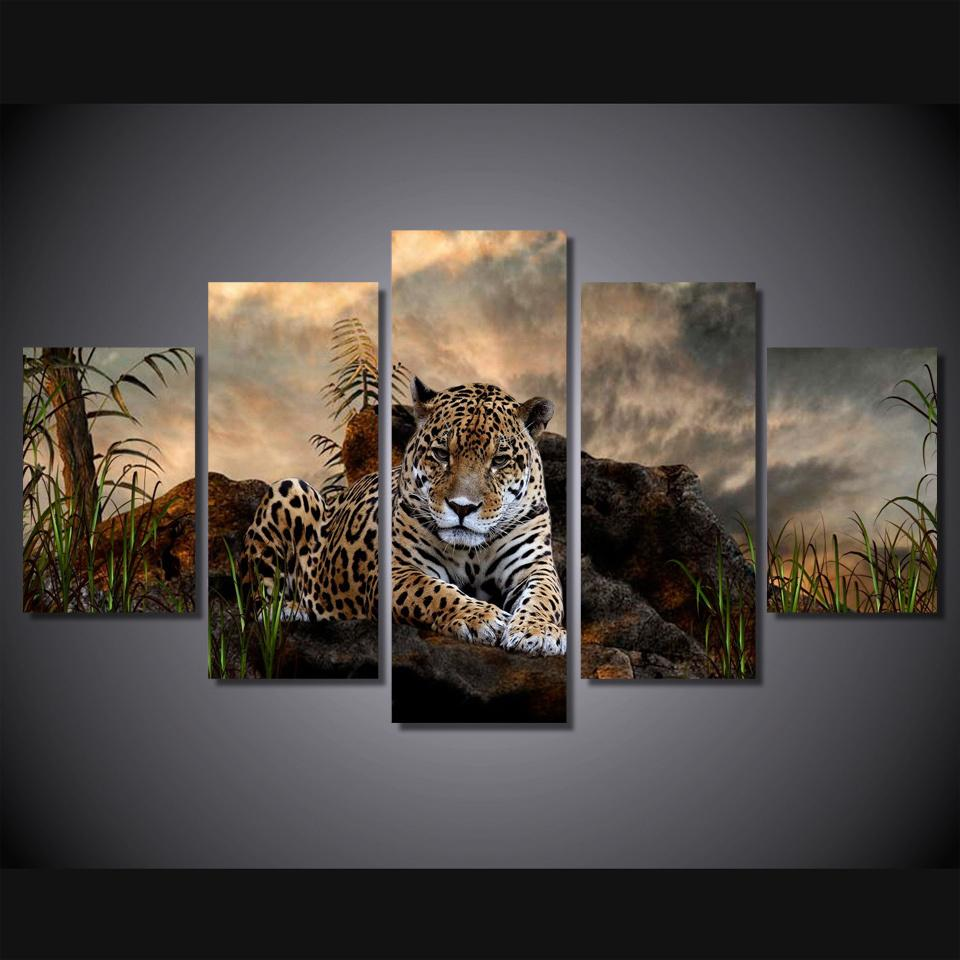 5 Piece Wild Leopard Canvas Painting Nature - It Make Your Day
