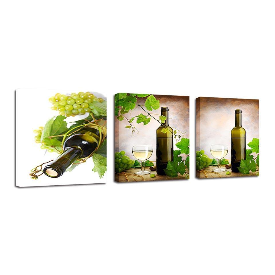 3 Piece Wine Print 21 Canvas Wall Art Sets - It Make Your Day