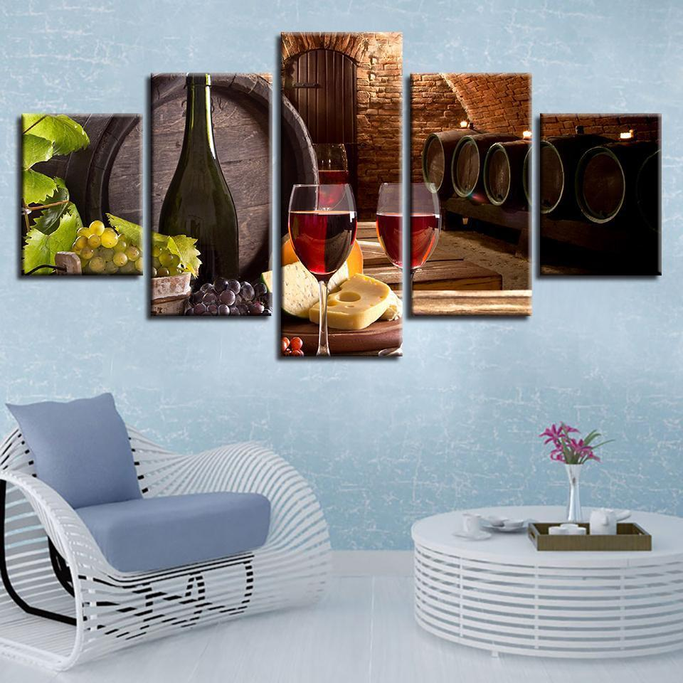5 Piece Wine Print 12 Canvas Wall Art Sets - It Make Your Day