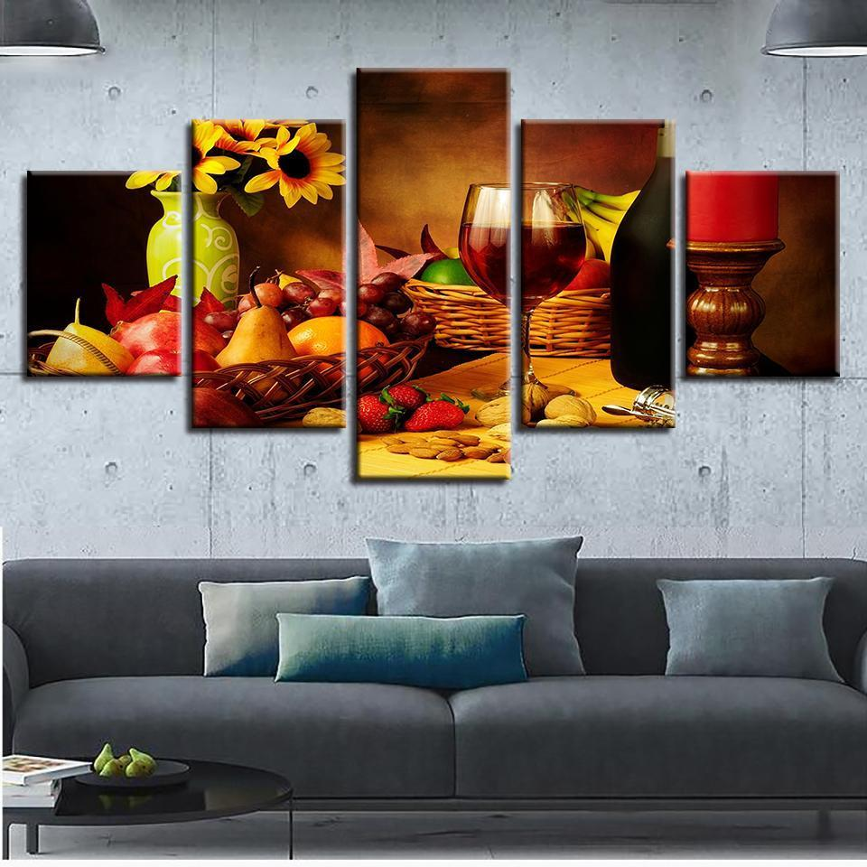 5 Piece Wine Print 7 Canvas Wall Art Sets - It Make Your Day