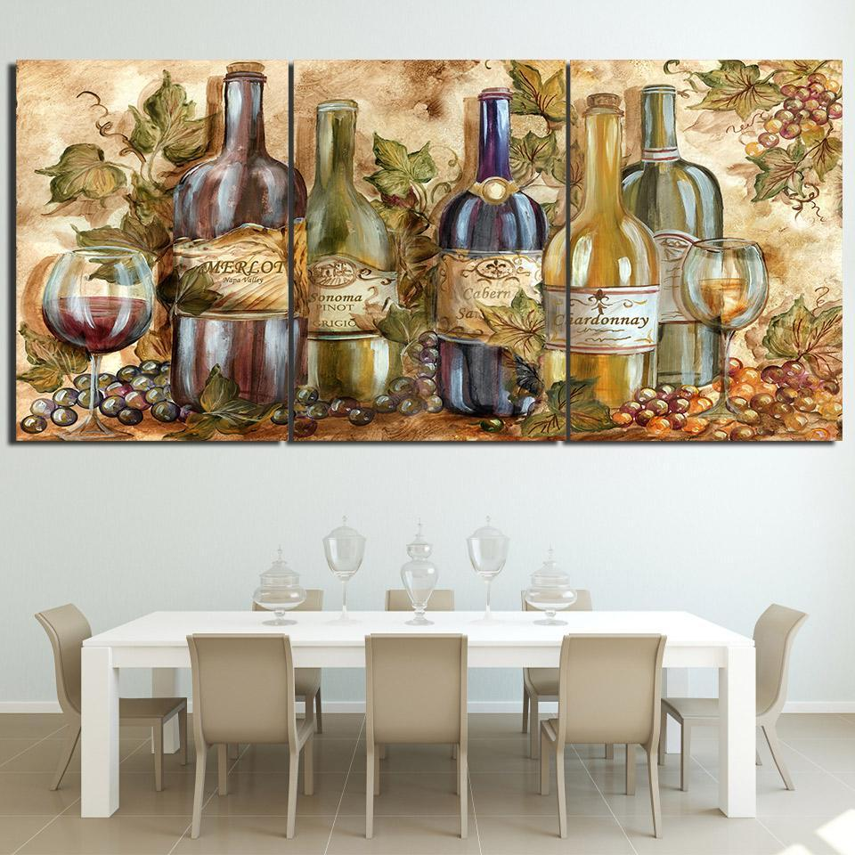 3 Piece Wine Print 25 Canvas Wall Art Sets - It Make Your Day