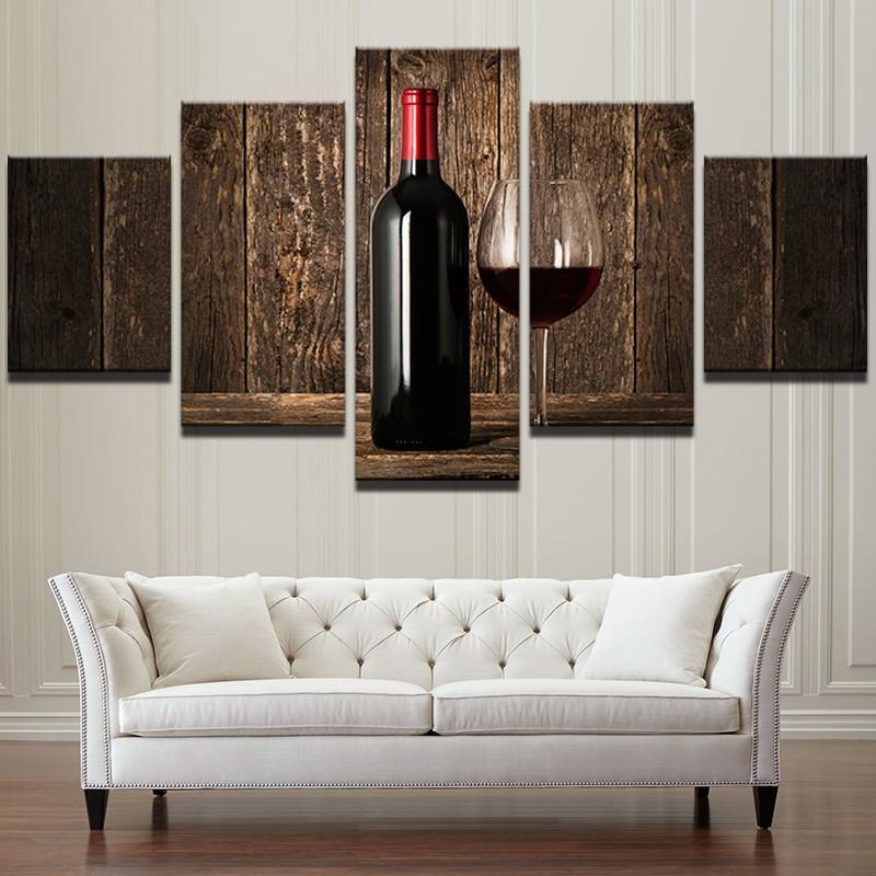 ... 5 Piece Wine Frames Canvas Wall Art Sets   It Make Your Day