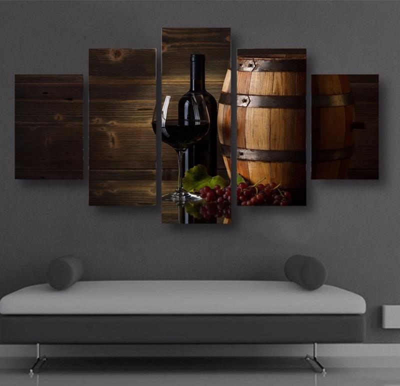 5 Piece Wine Print 1 Canvas Wall Art Sets - It Make Your Day