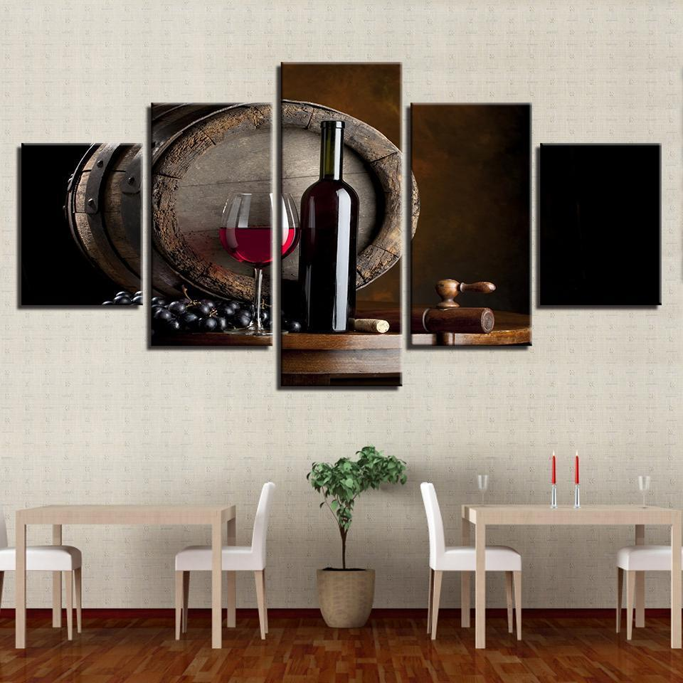5 Piece Wine Print 2 Canvas Wall Art Sets - It Make Your Day