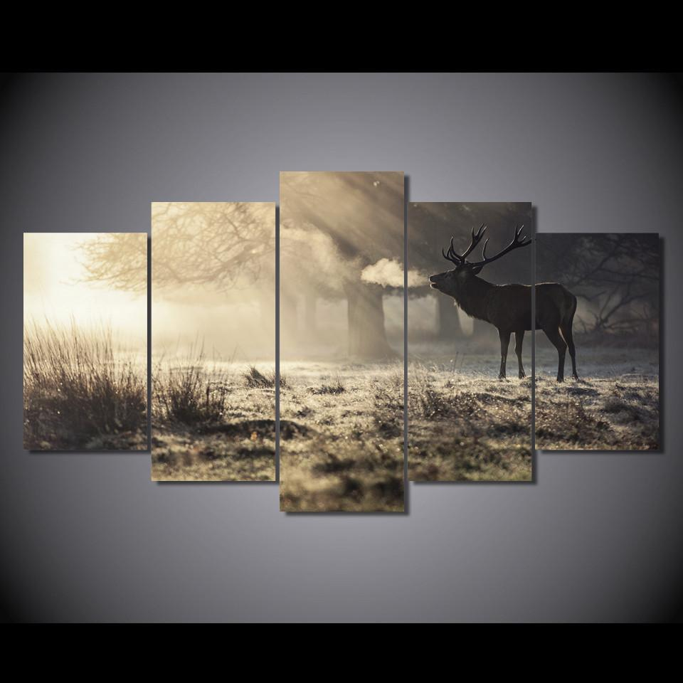 5 Pieces Winter Deer Hunting Season Canvas - It Make Your Day
