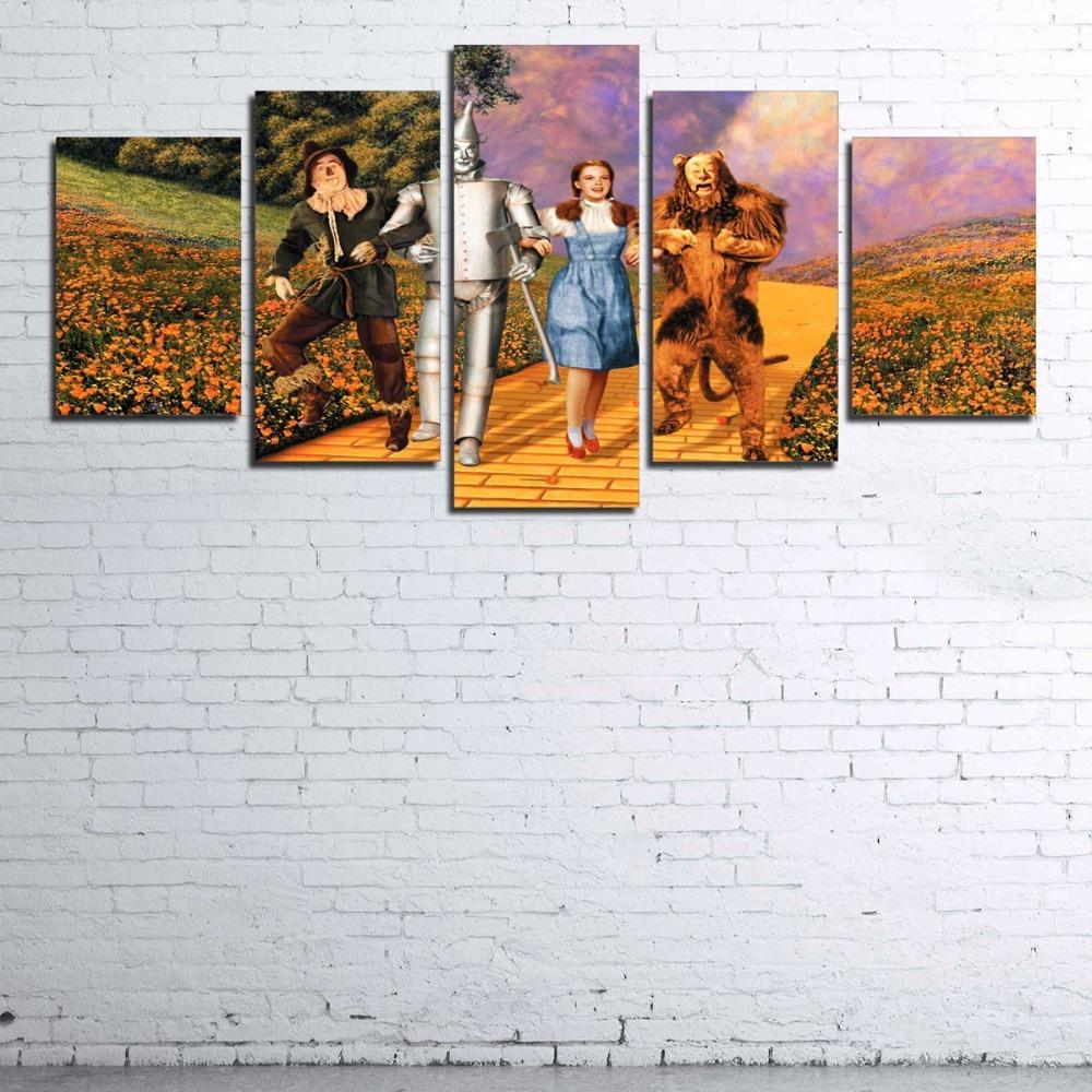 5 Piece Wizard Of Oz Movie Retro Movie Canvas Wall Art Paintings - It Make Your Day