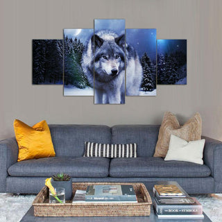 5 Piece Wolf In Snow Night Canvas Painting Nature - It Make Your Day