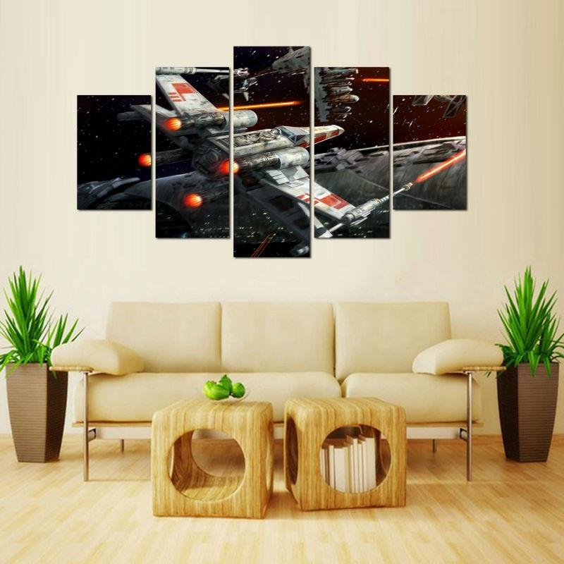 5 Piece X Wing Fighter Star Wars Movie Canvas Painting Wall Art - It Make Your Day