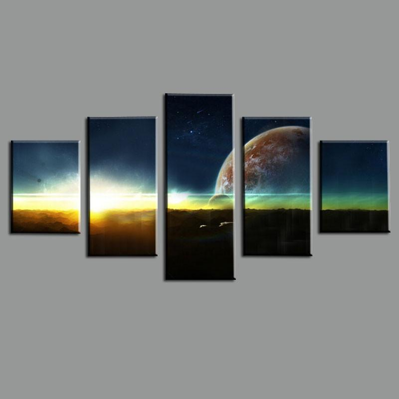 5 Piece Earth Cuadros Abstract Canvas Painting Wall Art - It Make Your Day