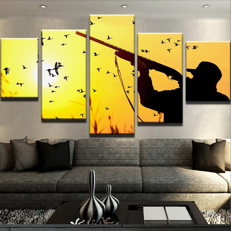 5 Piece Hunting Sunset Canvas Wall Art Paintings For Sale – It Make ...