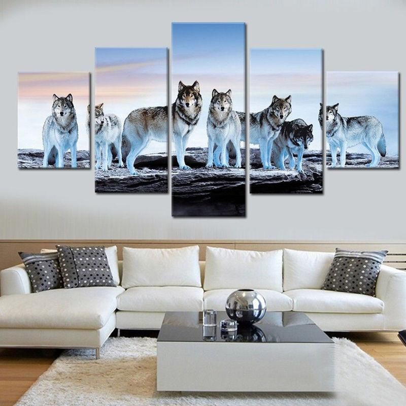 5 Pieces Seven Wolves Canvas - It Make Your Day