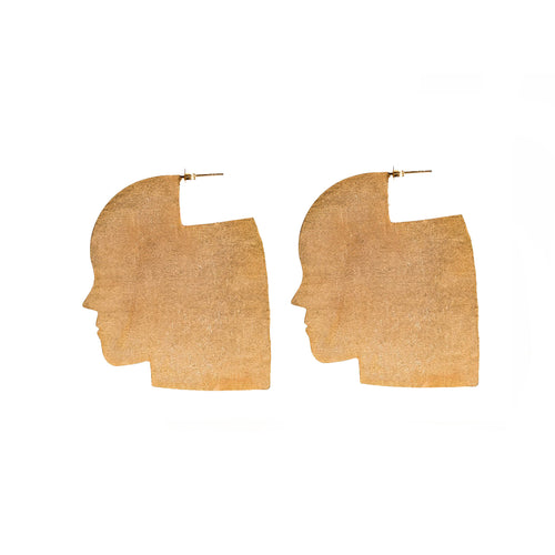 Abstract Profile face earrings (medium)