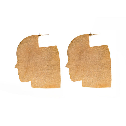 Abstract Profile Face Earrings (Large)