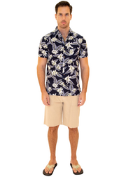 206001 - Navy Cotton Hawaiian Pocket Shirt