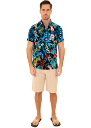 206004 - Black Cotton Hawaiian Pocket Shirt