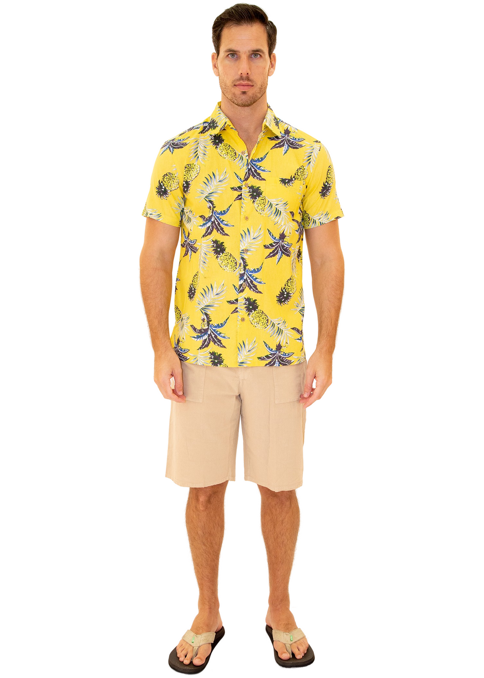 206009 - Yellow Cotton Hawaiian Pocket Shirt