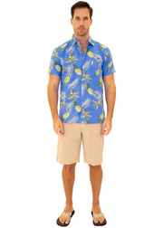 206011 - Blue Cotton Hawaiian Pocket Shirt