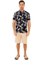 206012 - Navy Cotton Hawaiian Pocket Shirt